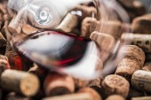 Fotografie Wine corks background  with copy space