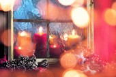 Fotografie Christmas Window Decoration with copy space