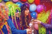 Párt az emberek ünnepli a carnival, vagy új év party Club