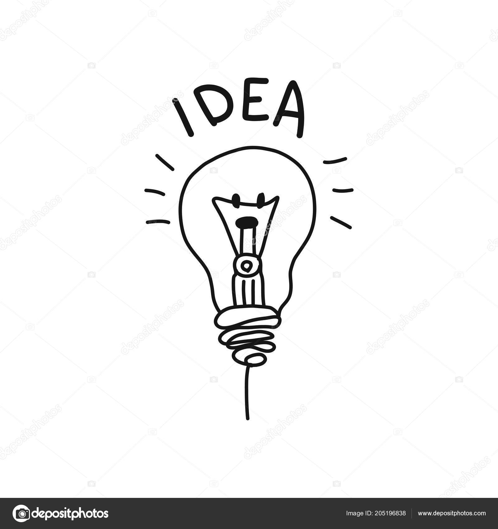 Idea Black And White Light Bulb Think Hand Drawing Isolated