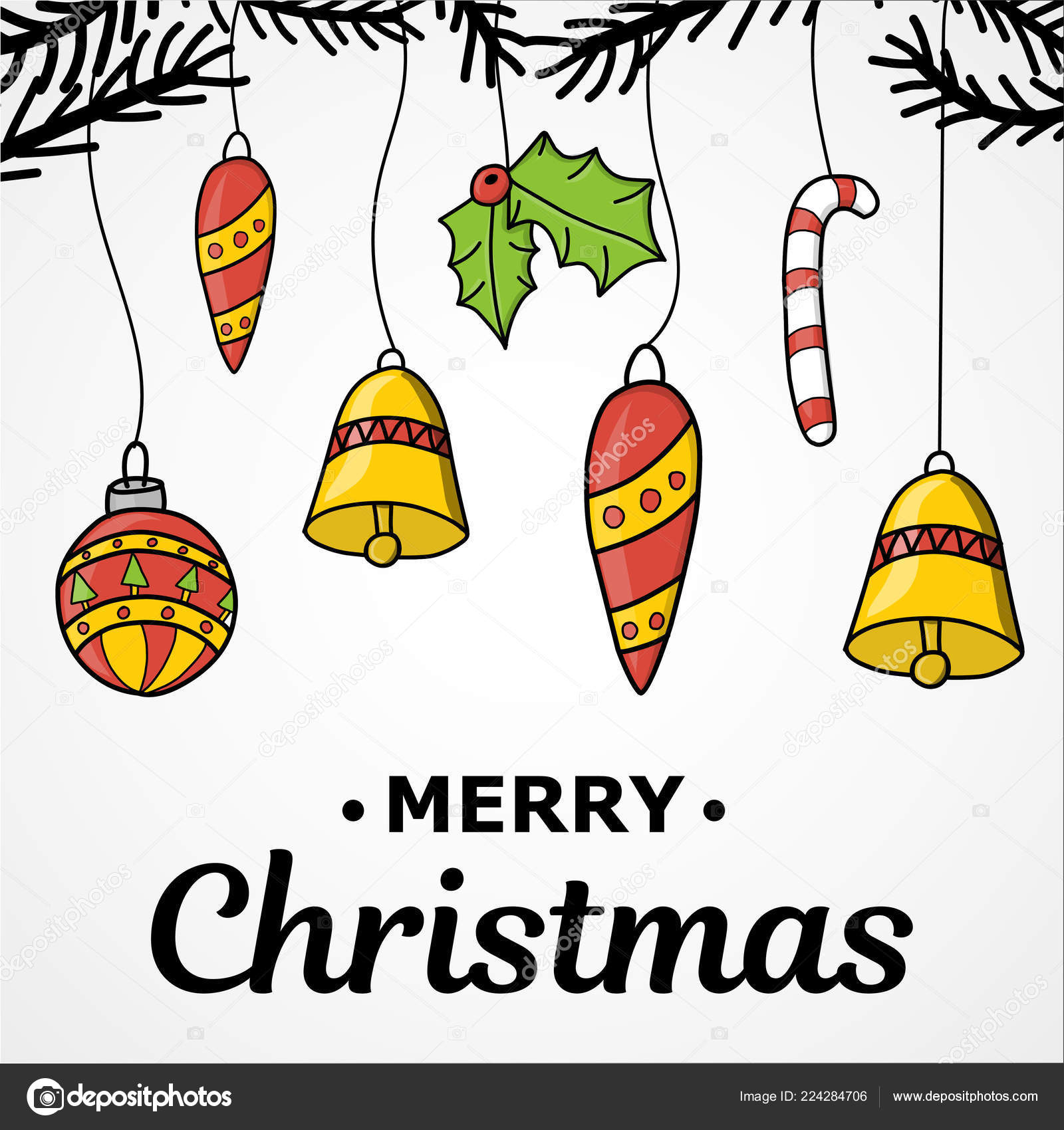 Ano Novo Natal Mão De Desenho Decoração De Ano Novo