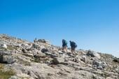 Photo couple hiking on Besseggen ridge in Jotunheimen National Park, Norway