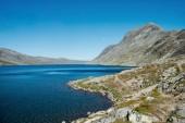 Fotografie krajina s jezerem Gjende, hřeben Besseggen, zahrnuje národní Park Jotunheimen, Norsko