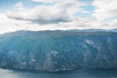 Photo view to Aurlandsfjord from Stegastein viewpoint, Aurland, Norway