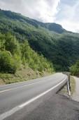 prázdné asfaltovou silnici a krásné hory pokryté zelenou vegetací, Aurlandsfjord, Flam (Aurlandsfjorden), Norsko