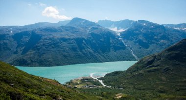 beautiful aerial view of Besseggen ridge over Gjende lake in Jotunheimen National Park, Norway