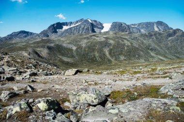 Scenery Besseggen ridge in Jotunheimen National Park, Norway stock vector