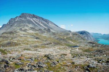 Besseggen ridge in summer in Jotunheimen National Park, Norway stock vector