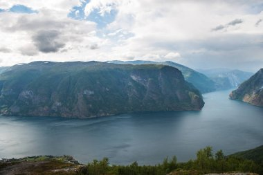 scenic view of sea and Aurlandsfjord from Stegastein viewpoint, Aurland, Norway
