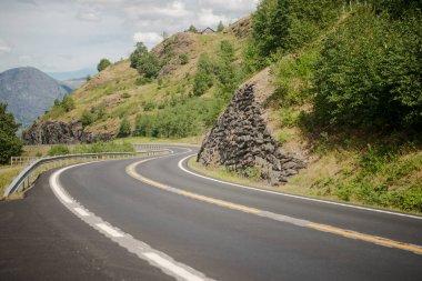 Empty winding asphalt road in beautiful green mountains, Aurlandsfjord, Flam (Aurlandsfjorden), Norway stock vector