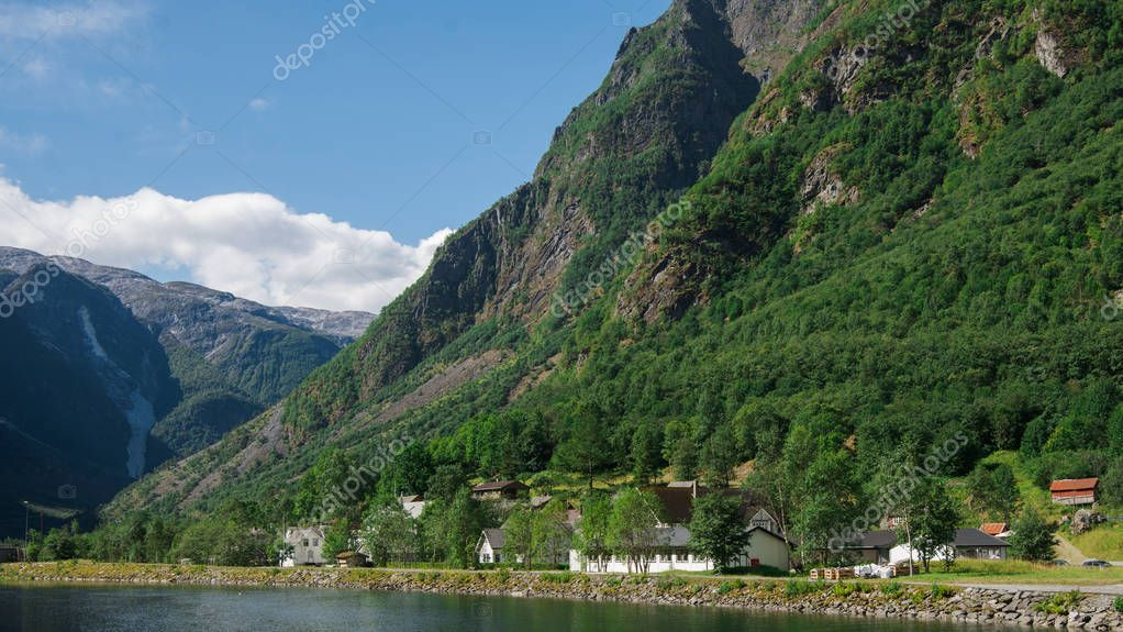 lake and green mountains in Gudvangen, Neirofjord, Norway