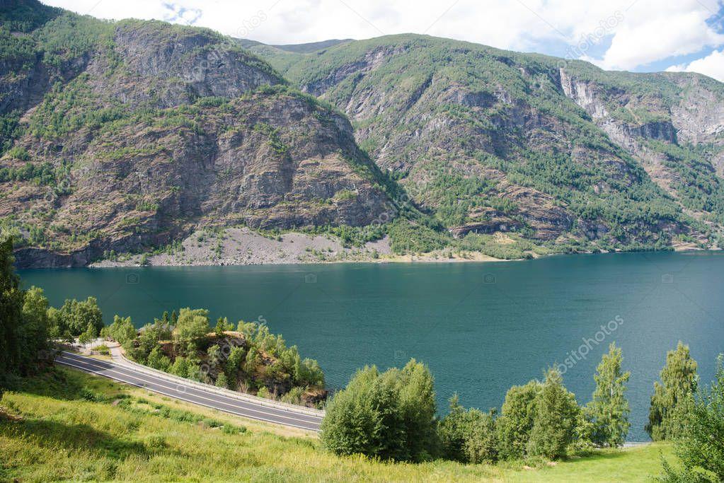 Фотообои аэрофотоснимок величественный пейзаж красивые горы и фьорды, Флам (Aurlandsfjorden), Норвегия