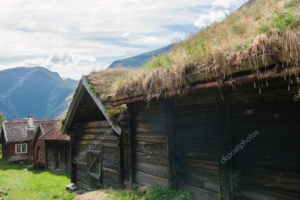 wooden building with grass growing on roof at Flam village, Aurlandsfjord, (Aurlandsfjorden), Norway