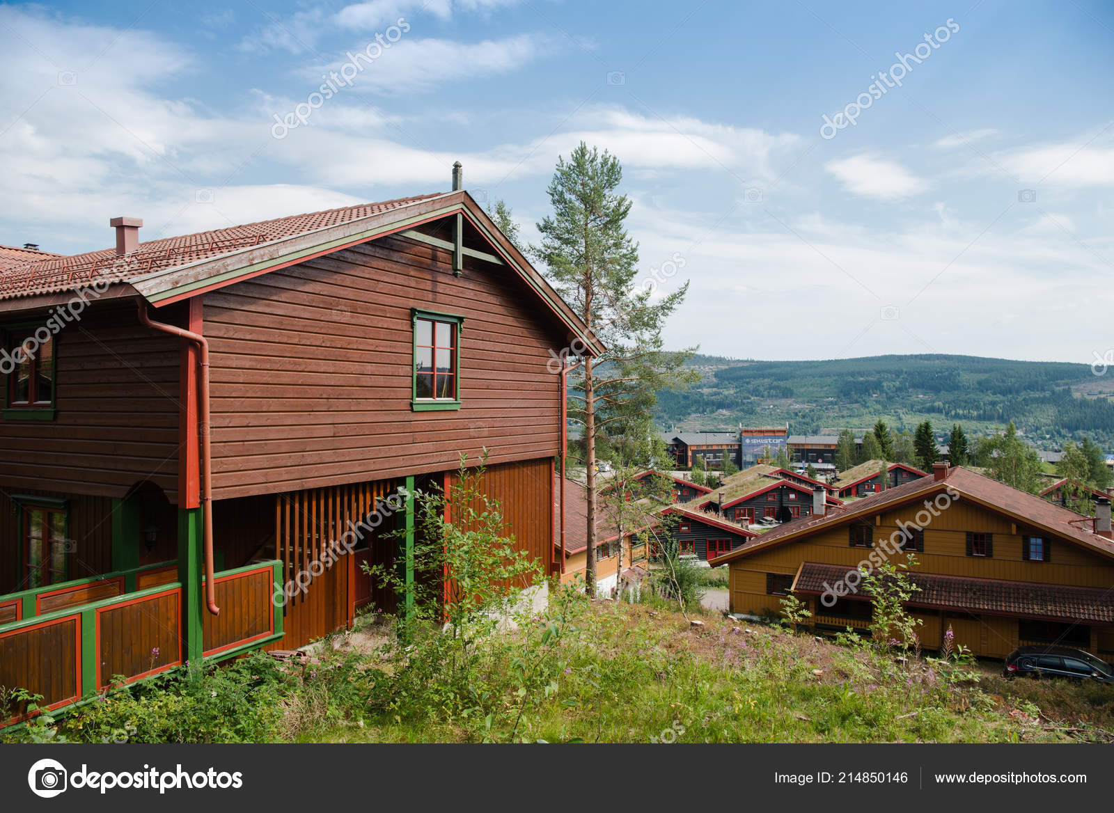 trysil norway july 2018 living houses largest ski resort trysil