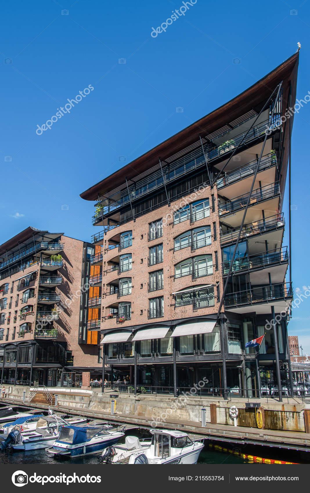 Oslo Norwegen Juli 2018 Moderne Hauser Und Boote Werft Aker
