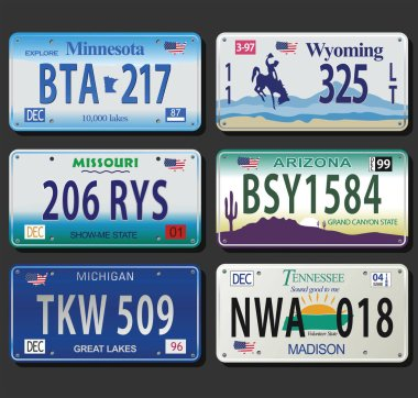 United States License Plates vintage collection