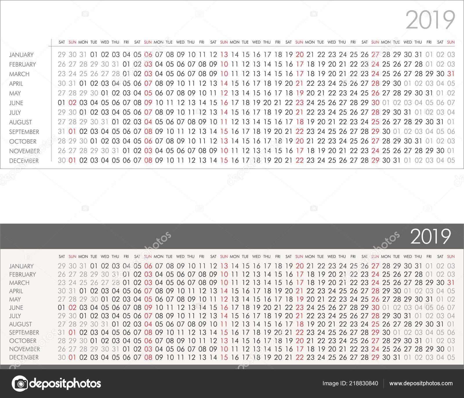Calendario Lineal.Calendario Lineal Para Ilustracion Vector Ano 2019 Archivo