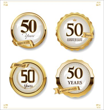 Anniversary golden labels retro vintage design collection