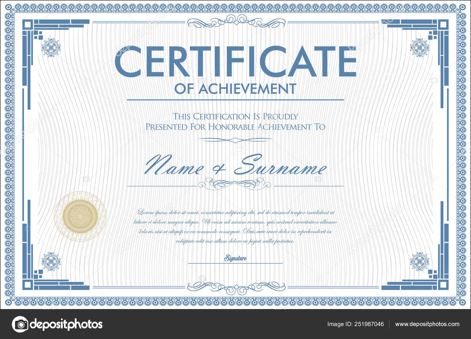 Certificate Achievement Retro Design Template Stock Vector