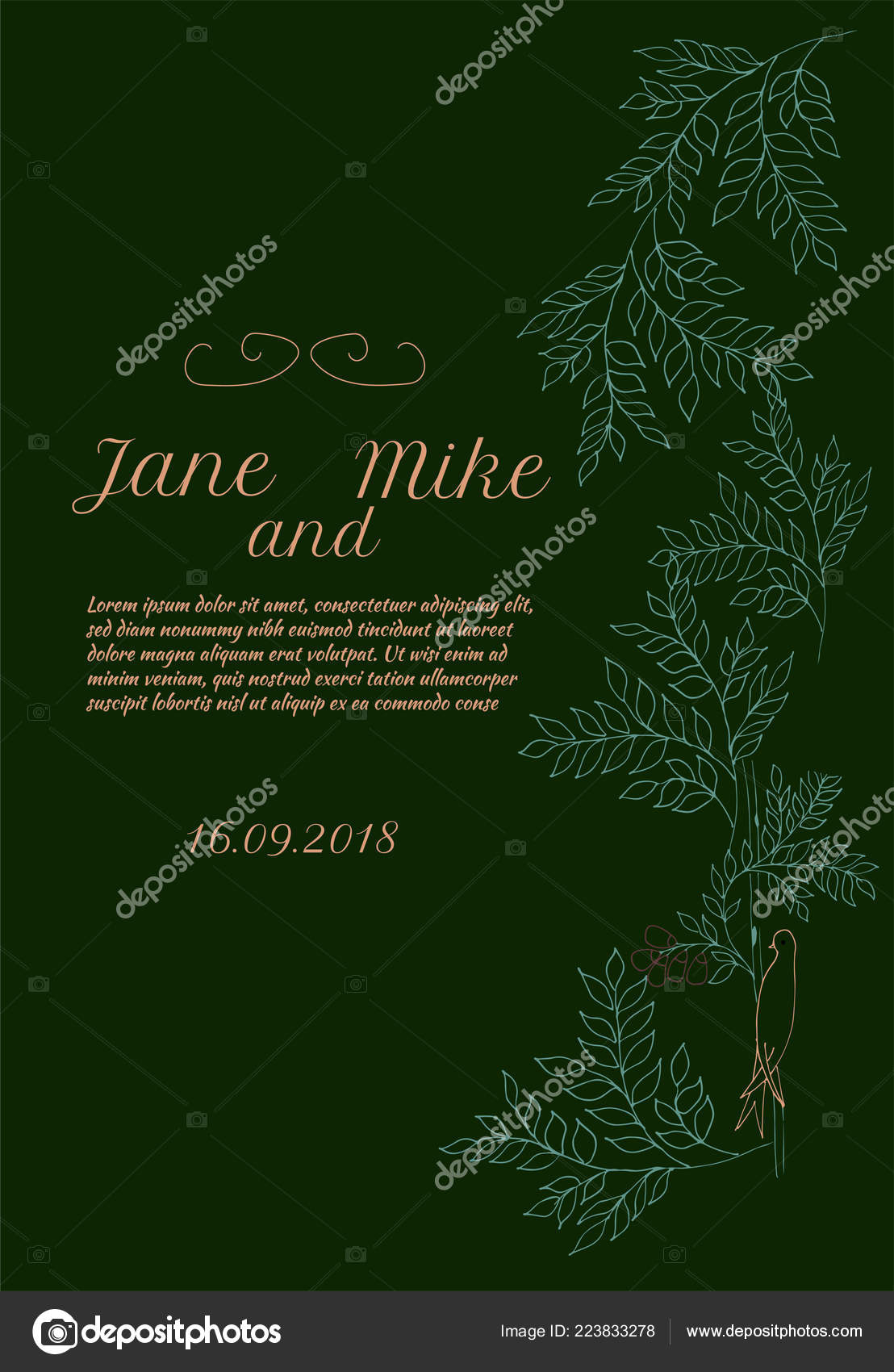 wedding card template leaves bird green background invitation banner
