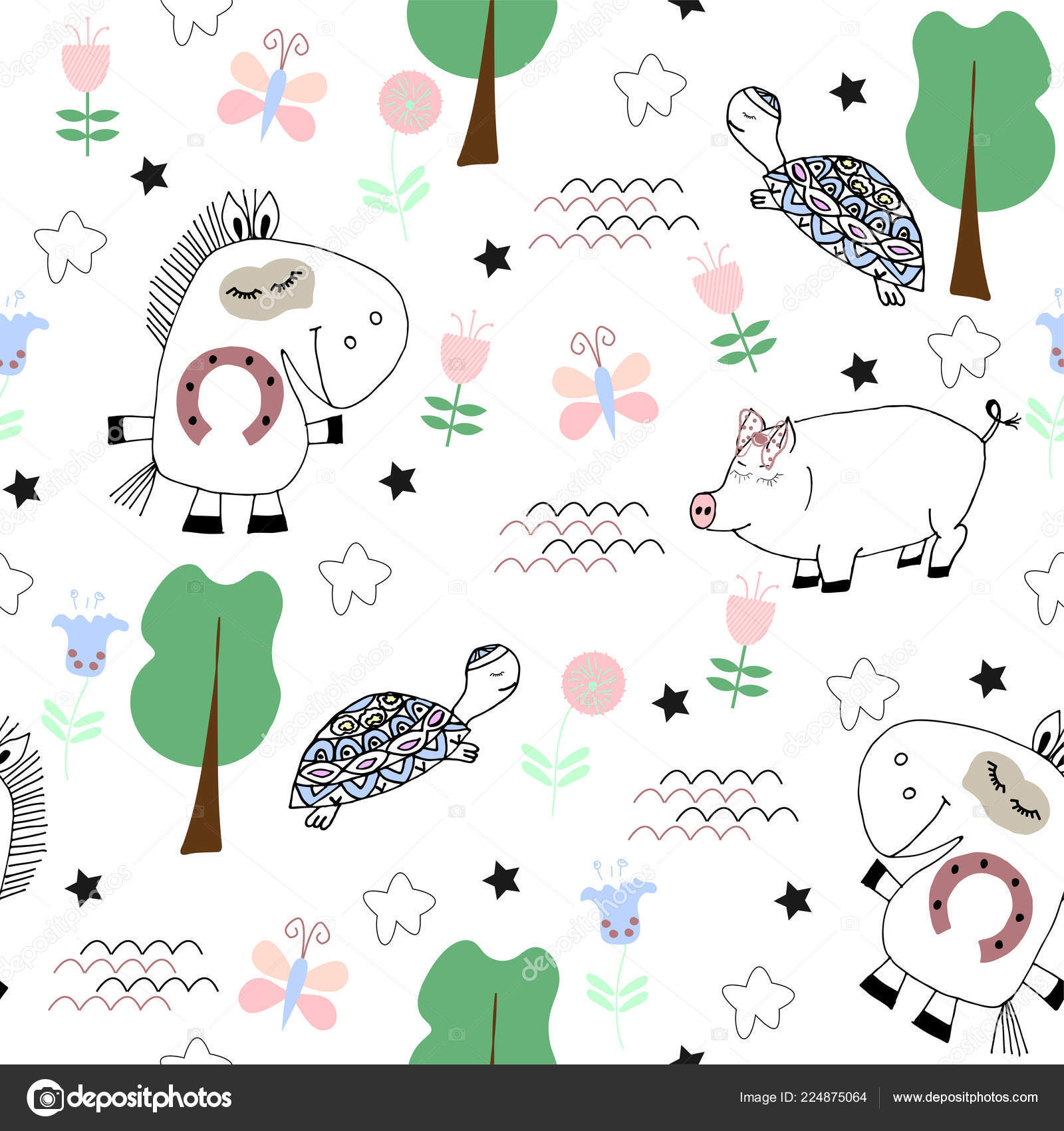 Cute Seamless Pattern Funny Animals Turtle Horse Pig