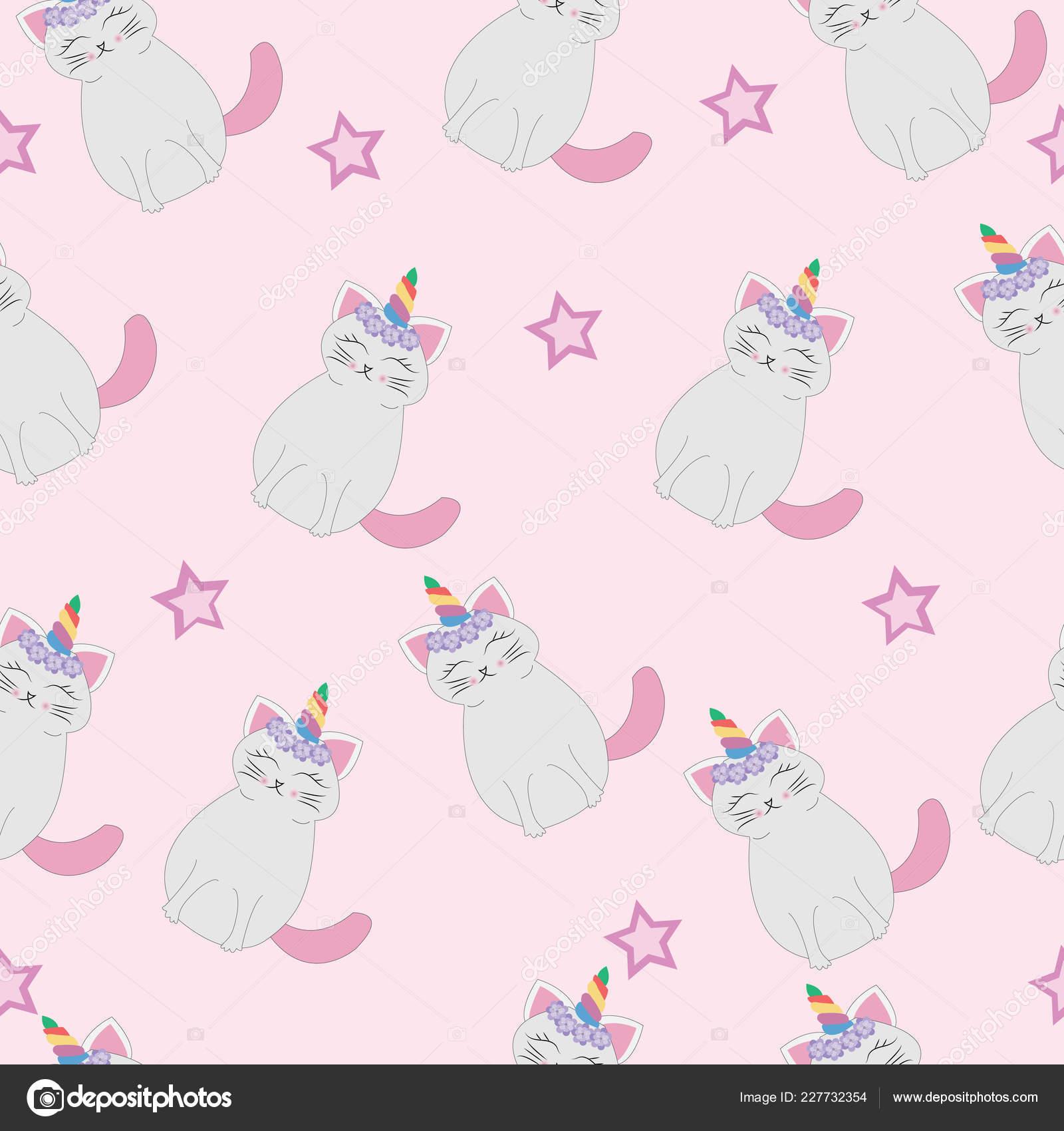 Cute Cats Unicorn Caticorn Seamless Pattern Cartoon Vector