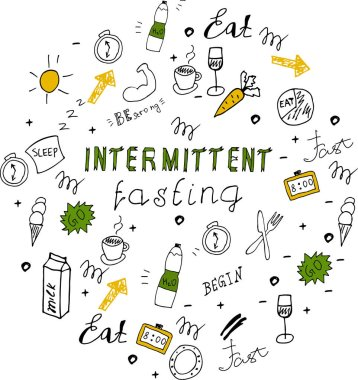 Doodle style intermittent fasting diet lettering.