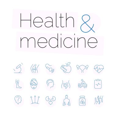 Pack of vector contour icons on the theme of health and medical care icon