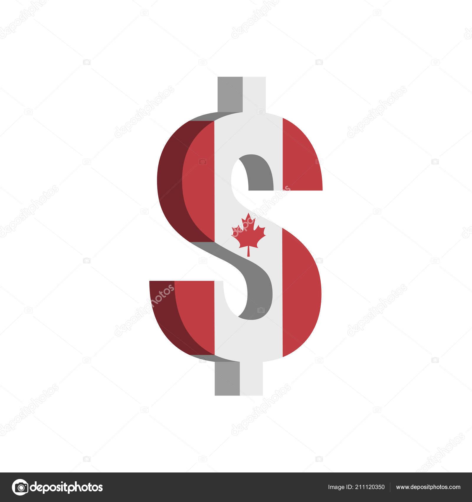 Canadian Dollar Cad Currency Symbol Flag Vector Stock Vector