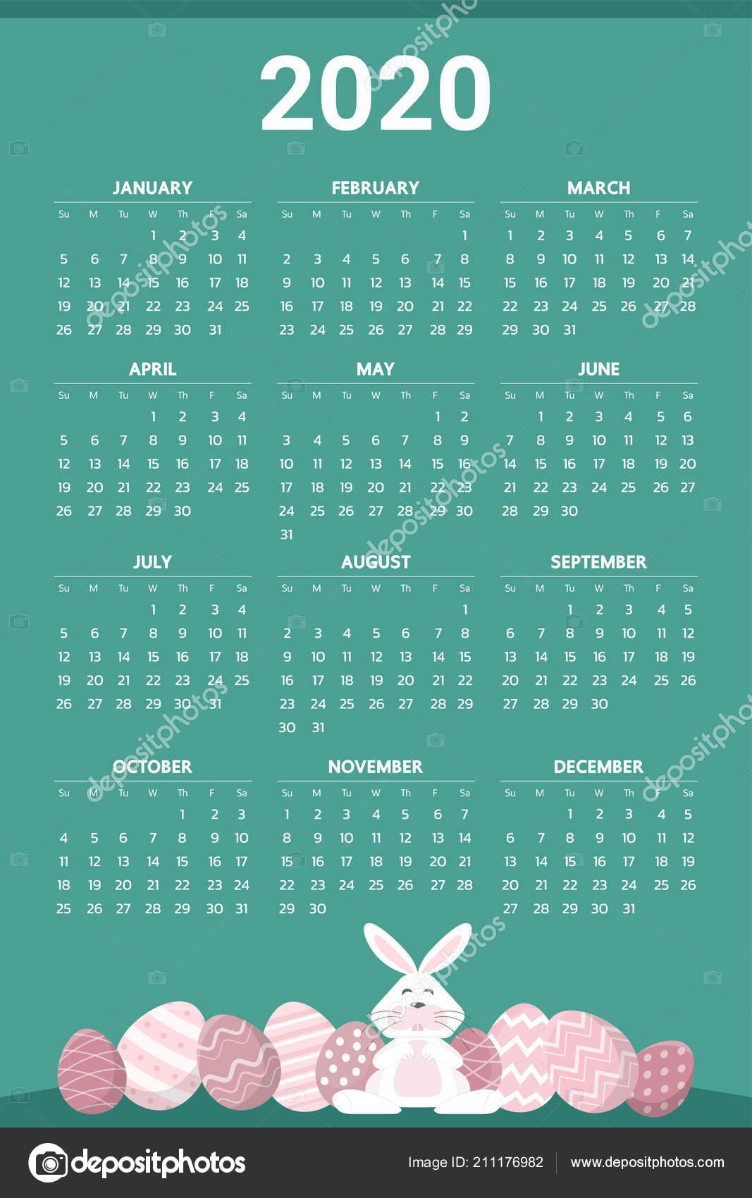 Calendario Pasqua 2020.2020 Calendario Con Tema Dell Uovo Pasqua Vettoriale
