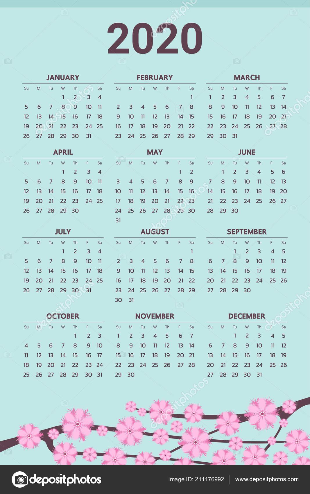 Calendario Rosa 2020.2020 Calendar Flowers Theme Vector Stock Vector C Andramin