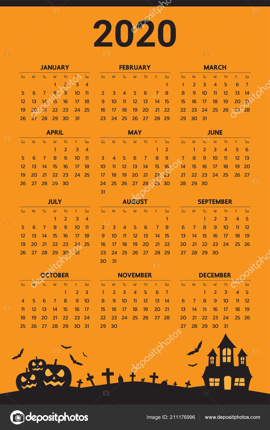 Halloween Calendar 2020 2020 Calendar Halloween Theme Vector — Stock Vector © Andramin