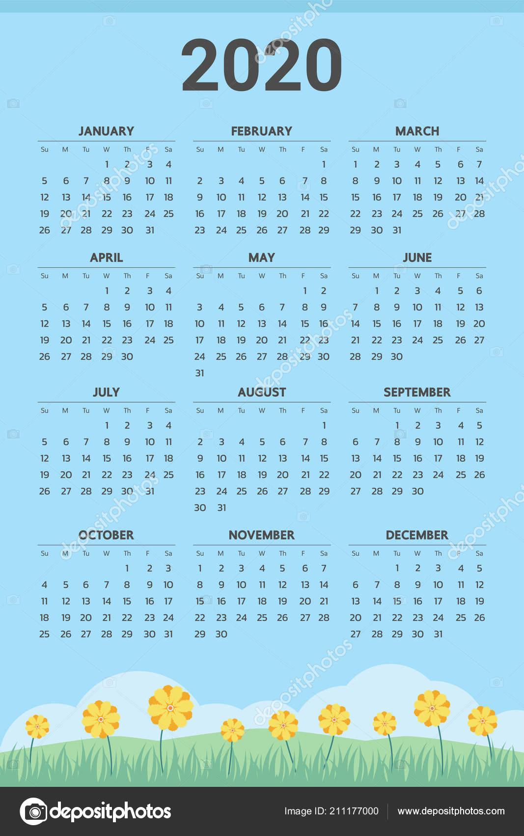 Spring 2020 Calendar 2020 Calendar Spring Theme Vector — Stock Vector © Andramin #211177000