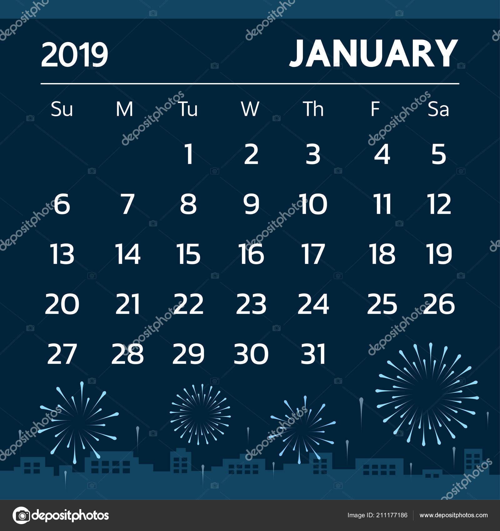 January 2019 Calendar Theme Calendar January 2019 Fireworks Theme Vector — Stock Vector