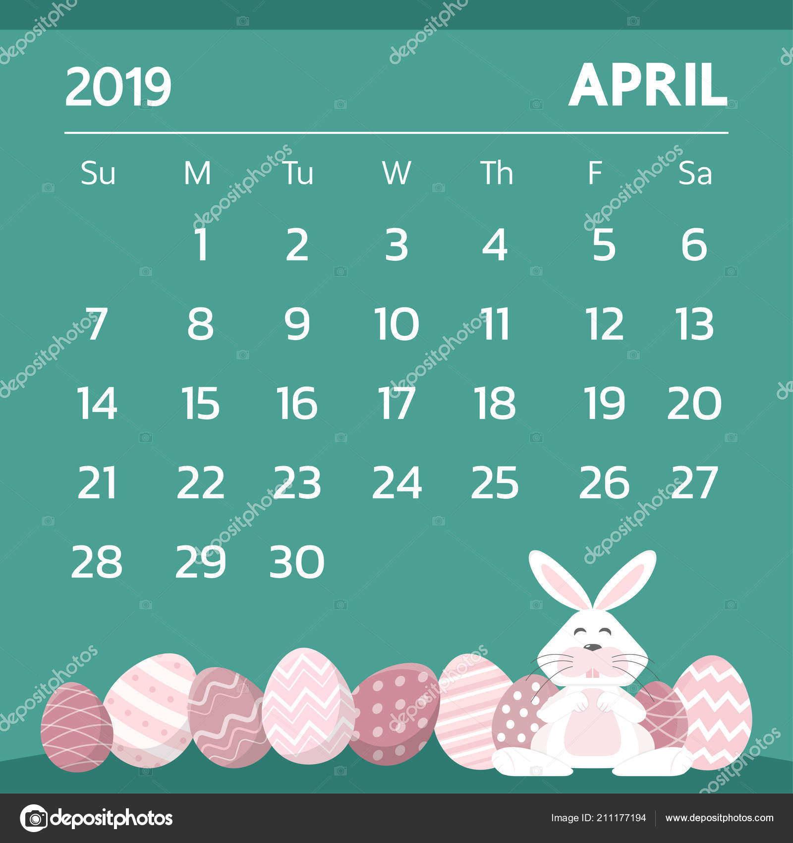 2019 Easter Calendar Calendar April 2019 Easter Egg Theme Vector — Stock Vector