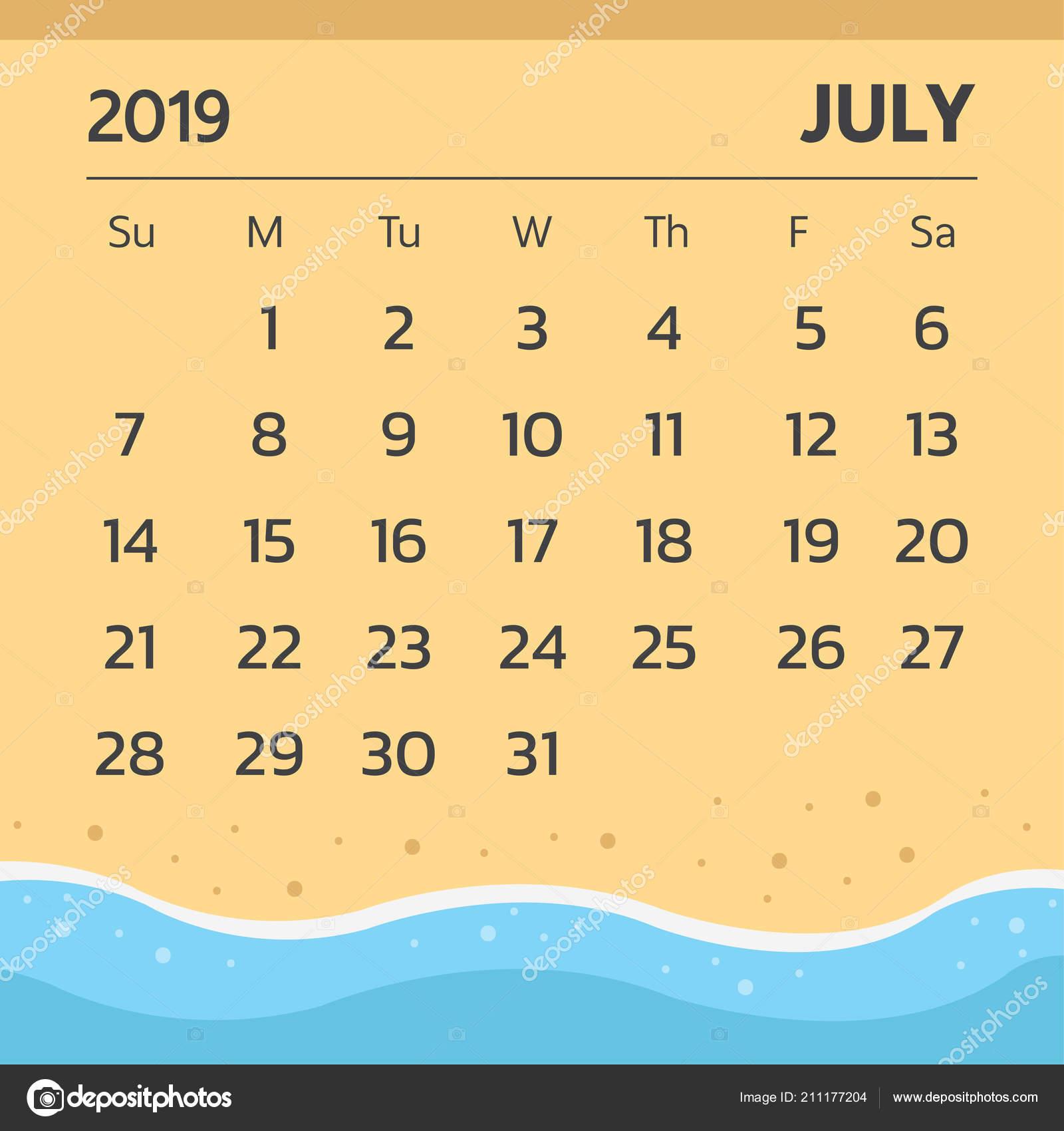 Calendario 31 Luglio 2019.Vettore Buongiorno Spiaggia Calendario Luglio 2019 Con