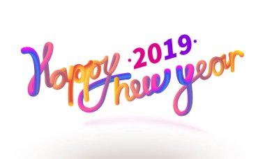 Stock vector illustration Happy New Year font with letters. Glossy orange paint letters. 3D-style render of bubble font with glint. Happy New Year 2019 Isolated on a white background. EPS10