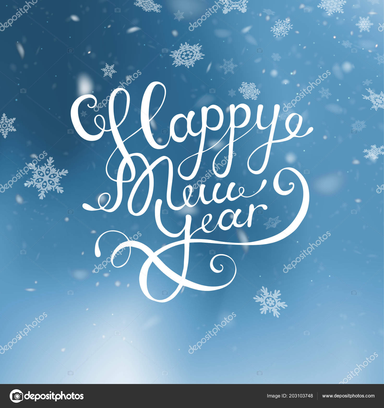 vector illustration christmas and happy new year blurred blue background falling snow wallpaper