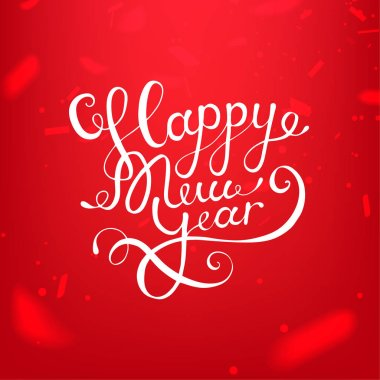 Stock vector illustration calligraphic text Happy New Year lettering design card template red background. Calligraphy font style banner, creative text typography holiday greeting gift poster. EPS10