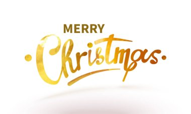 Stock vector illustration text Merry Christmas lettering shiny, sparkly typeface gold leaf. Golden confetti Isolated on white background. Greeting card, poster, brochure or flyer template EPS10