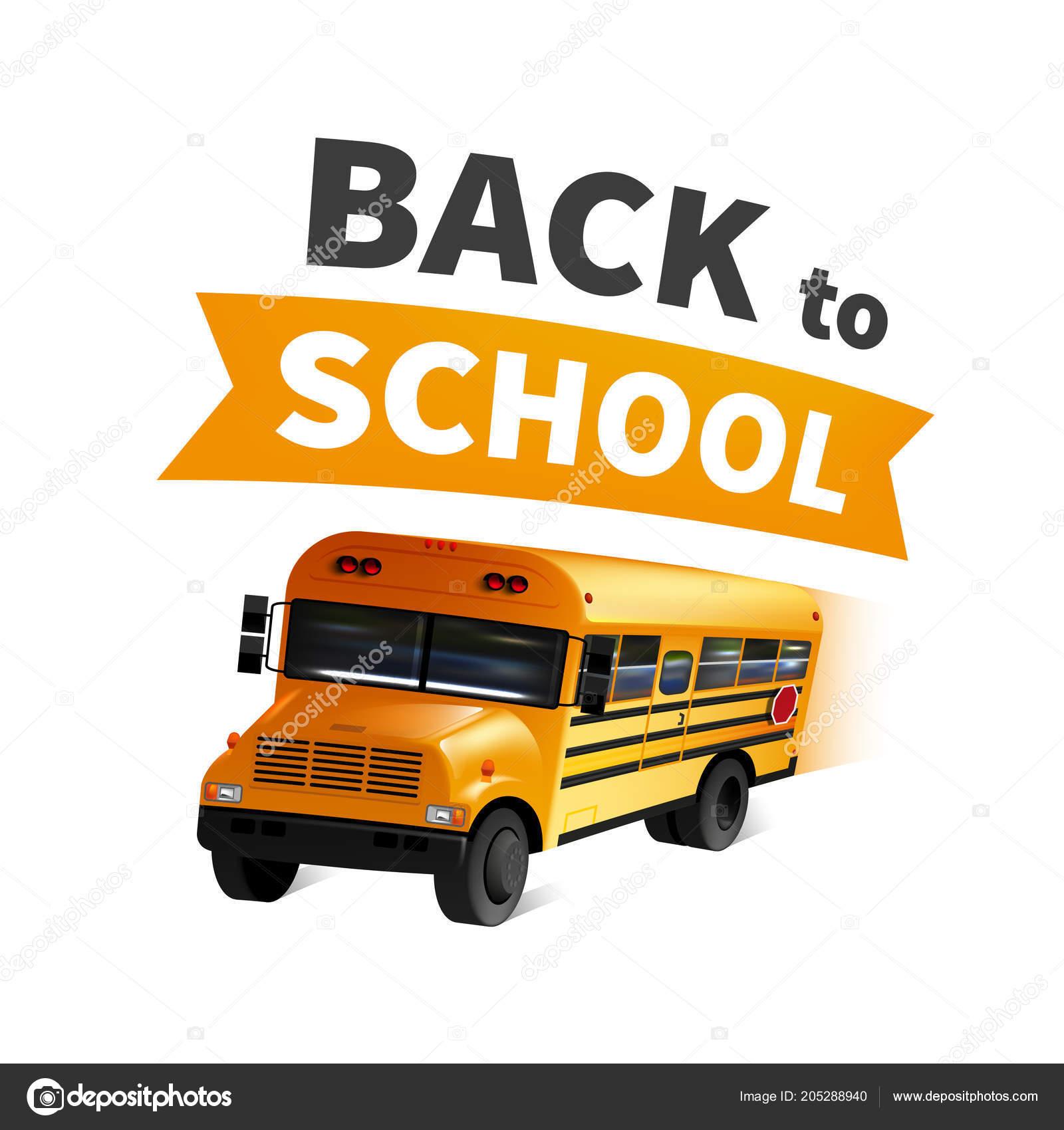 stock vector illustration back to school realistic happy school bus