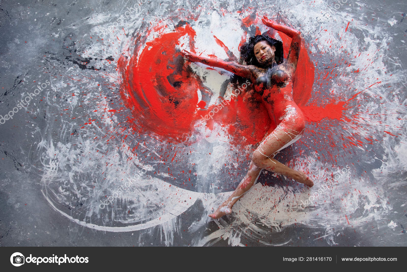 Young Nude Artistic Woman In Red Black And White Paint Lies Dancing On The Ground Creative Abstract Body Art Colorful Painting Stock Photo C Ullision 281416170