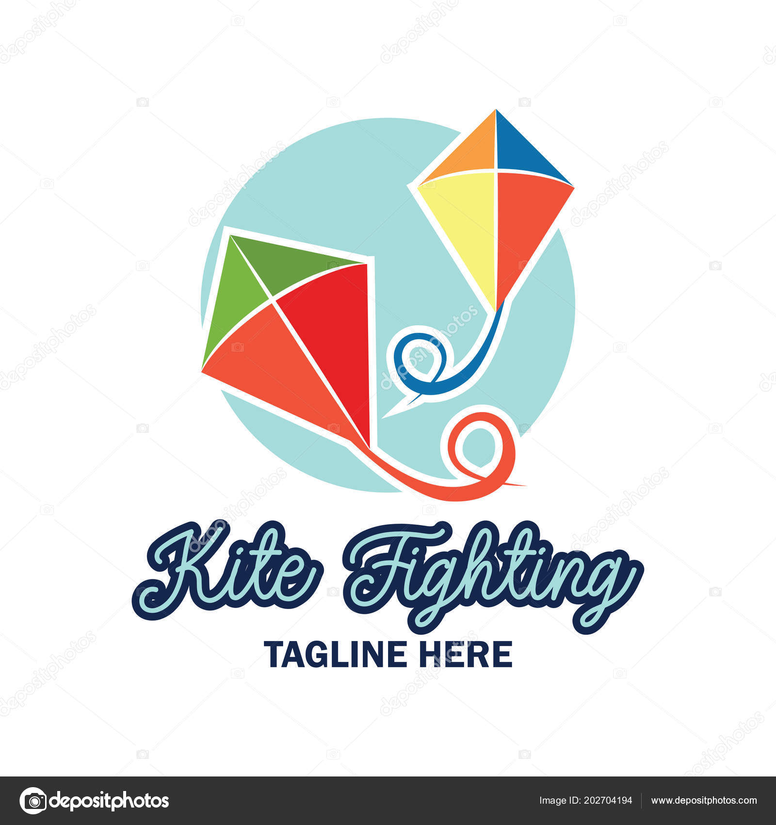 kite fighting logo text space your slogan tag line vector stock
