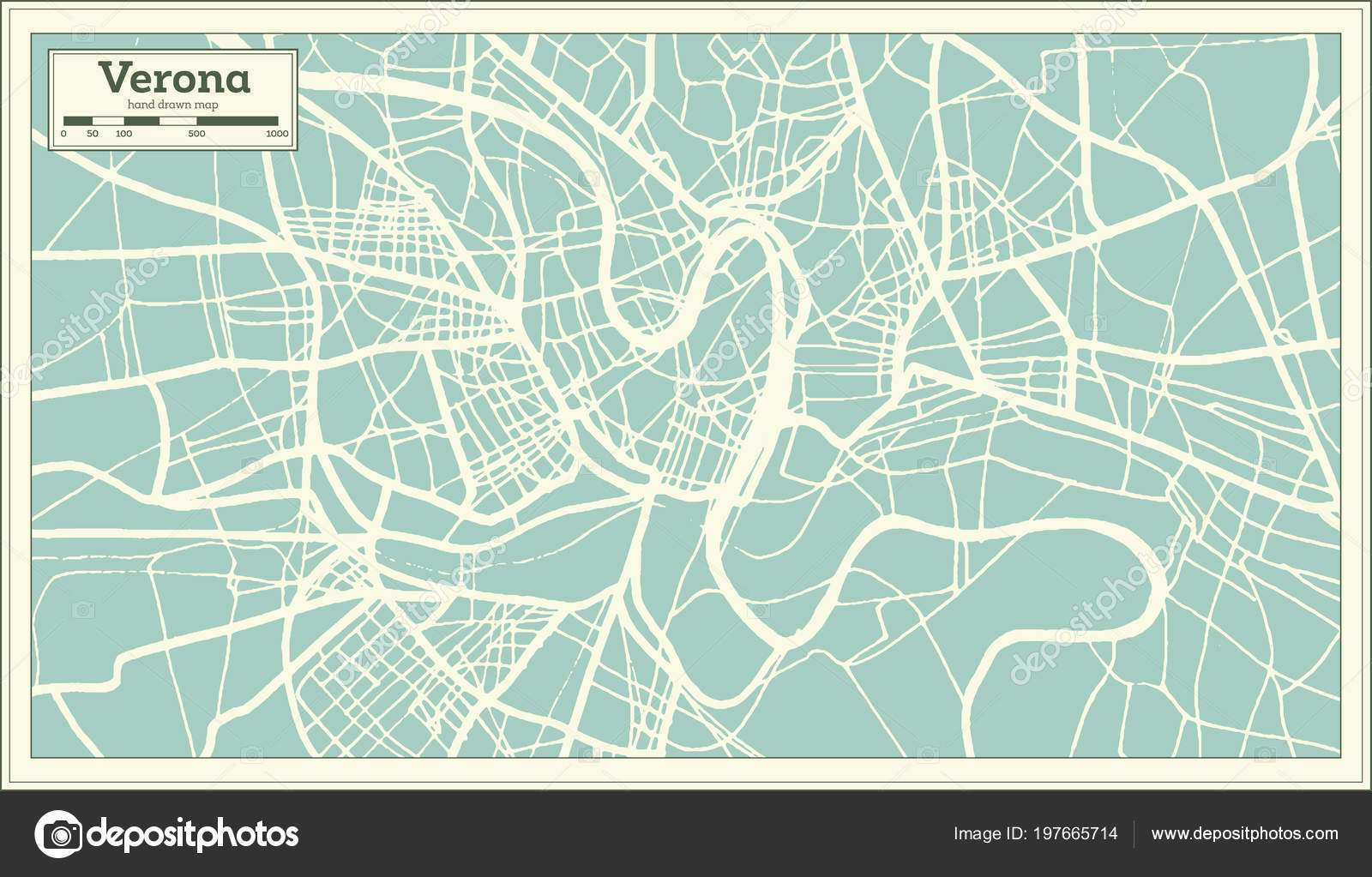 Verona Italy City Map Retro Style Outline Map Vector Illustration
