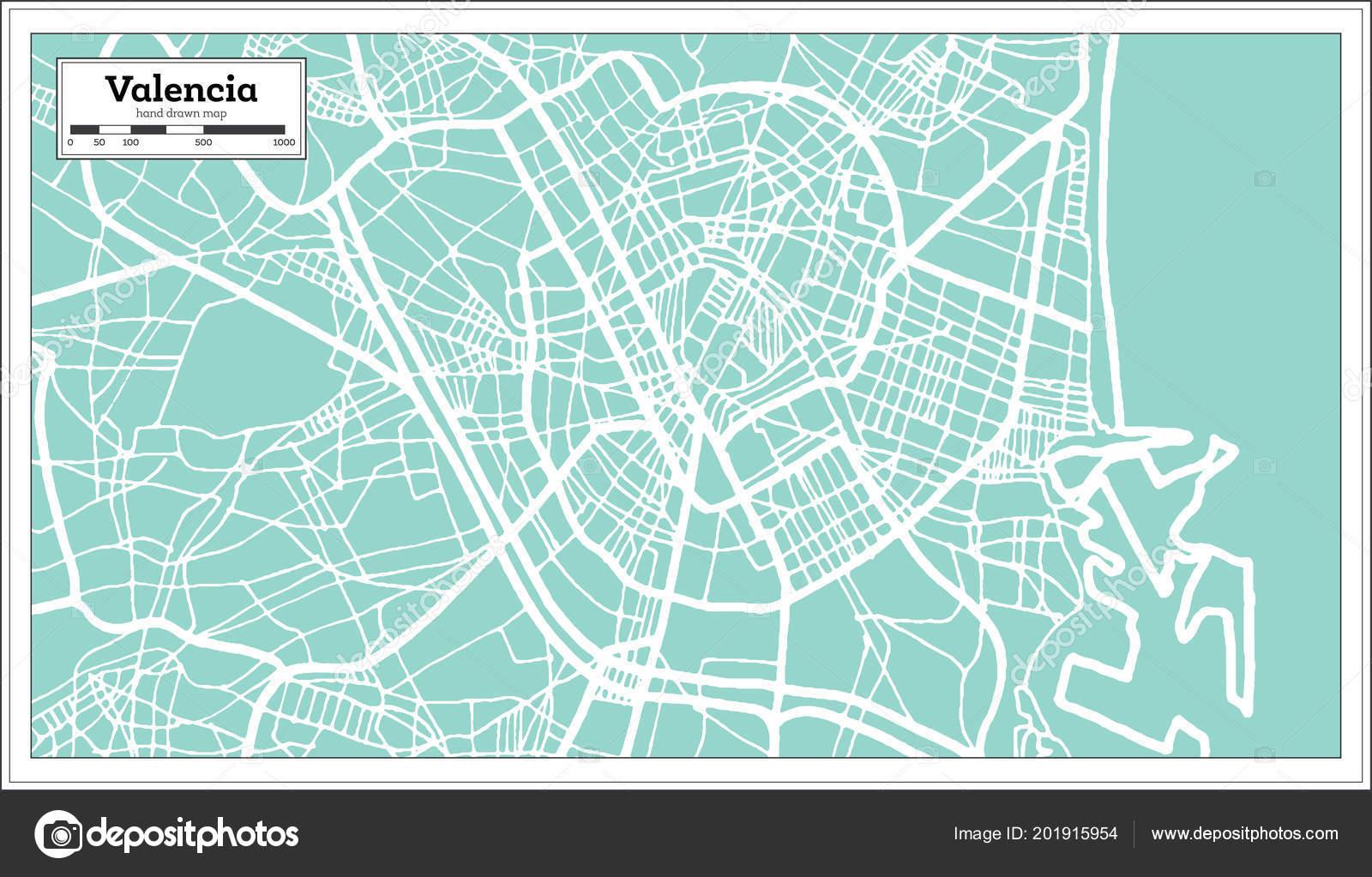 Mapa De La Ciudad De Valencia España.Mapa Ciudad Valencia Espana Estilo Retro Mapa Contorno