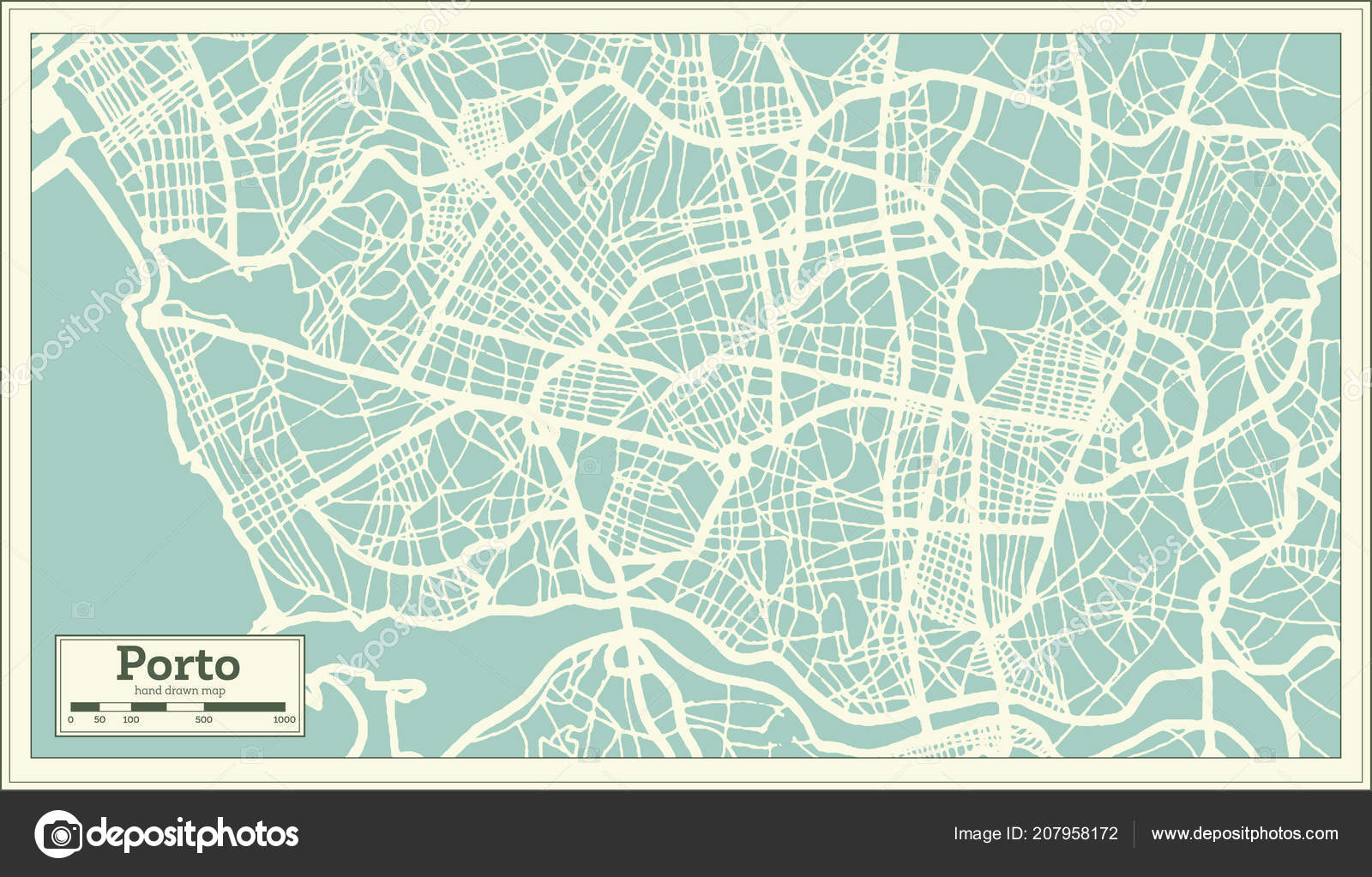 Porto Portugal City Map Retro Style Outline Map Vector