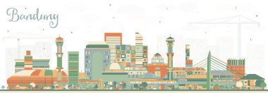 Bandung Indonesia City Skyline with Color Buildings. Vector Illustration. Business Travel and Tourism Concept with Historic Architecture. Bandung Cityscape with Landmarks.