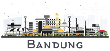 Bandung Indonesia City Skyline with Gray Buildings Isolated on White. Vector Illustration. Business Travel and Tourism Concept with Historic Architecture. Bandung Cityscape with Landmarks.