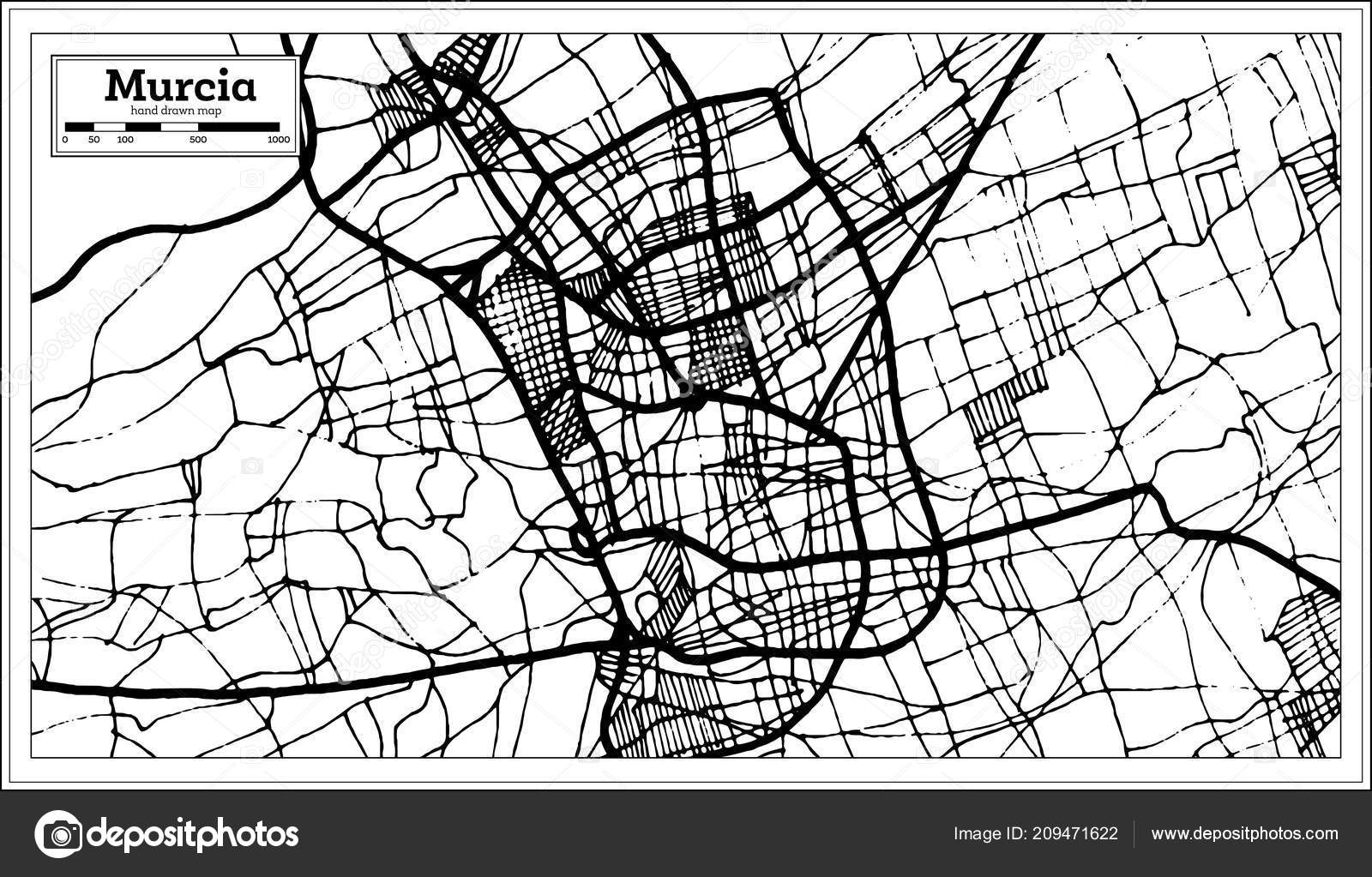 Murcia Map Of Spain.Murcia Spain City Map Retro Style Outline Map Vector Illustration