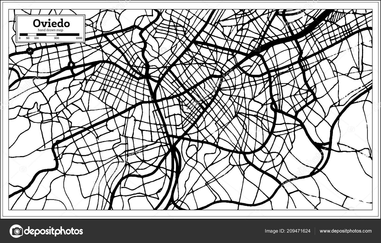 Oviedo Spain City Map Retro Style Outline Map Vector Illustration